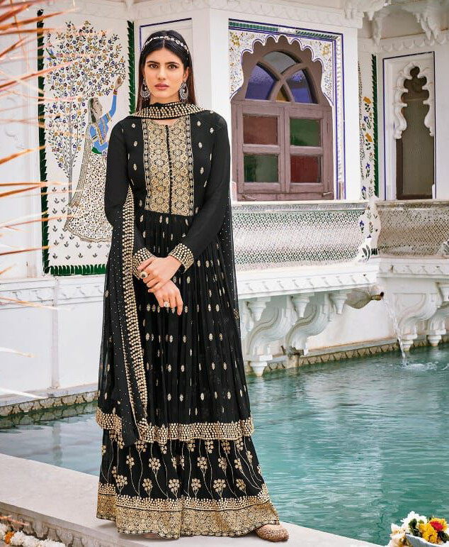 Wedding Wear Sharara Suit With Heavy Embroidered In Mustard Black