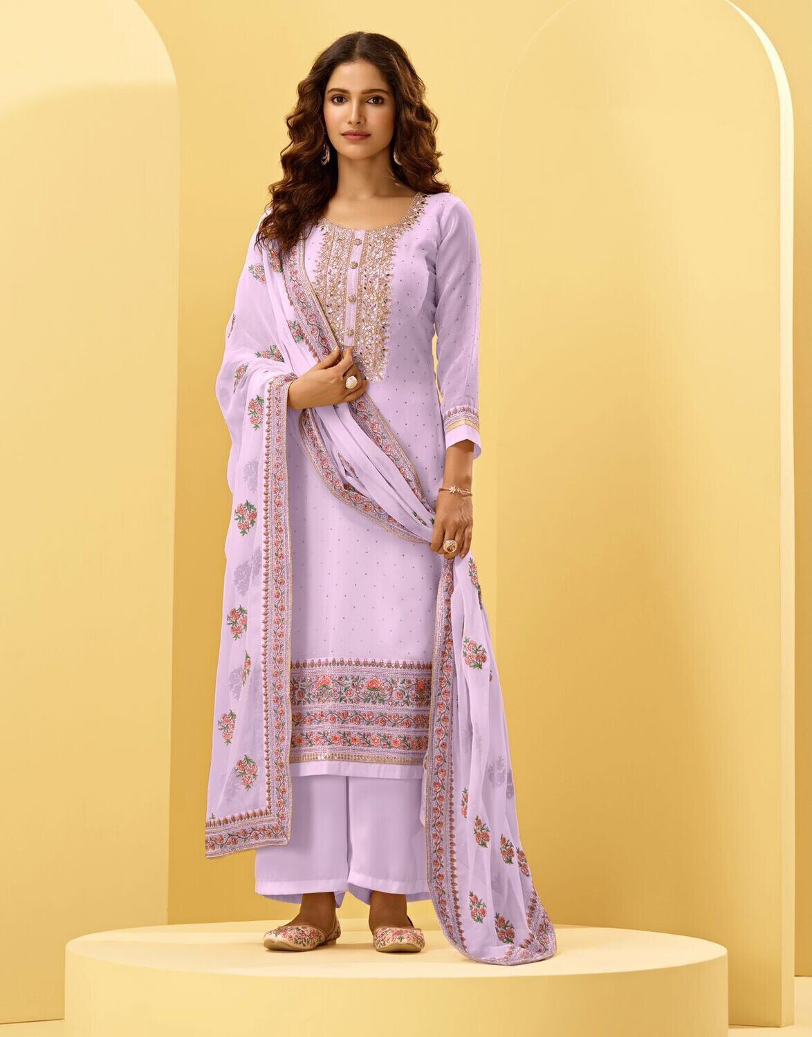 Cording Embroidered Alizeh Georgette Plazzo Suit In Lavender