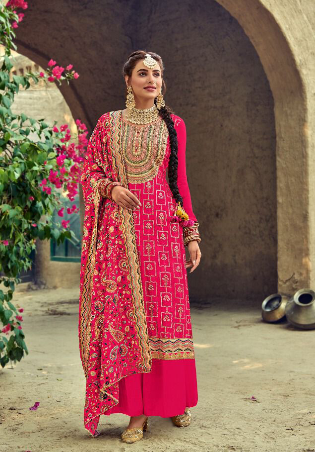 Karvachauth Special Dress Heavy Embroidery Georgette Plazzo Suit In Rani
