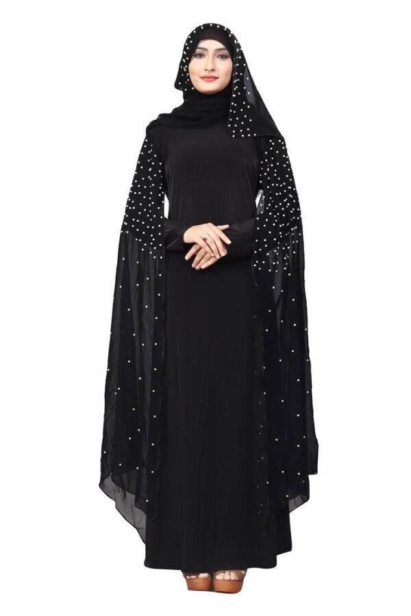 Women's Crystal Nida Butterfly Sleeves Cute Stone Work Burkha With Hijab Dupatta