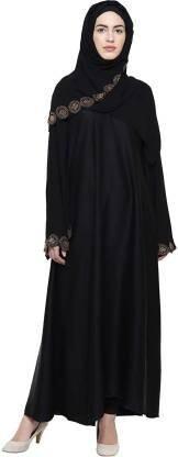 Women's Double Sleeves Imported Soft Nida Fabric Stone work Abaya Burkha with Dupatta. (BRQ_46) (Black Colour_Free Size) Polyester Blend Self Design Burqa With Hijab  (Black)