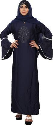 Shoppears burkha for women stylish dubai Metallic Blue Color Nida with Pearl Work with Adjustable Belt burqas for girls Polyester Abaya With Hijab  (Blue)