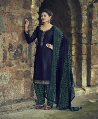 Punjabi Suit With Embroidered Royal Crepe In Navy Blue