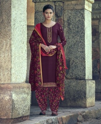Punjabi Suit With Embroidered Royal Crepe In Dark Purple