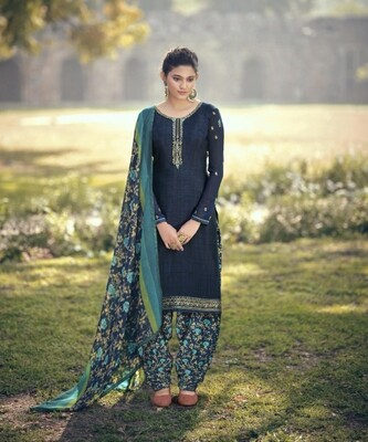 Punjabi Suit With Embroidered Royal Crepe In Royal Blue