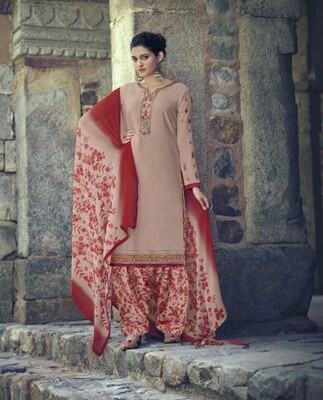 Punjabi Suit With Embroidered Royal Crepe In Light Pink
