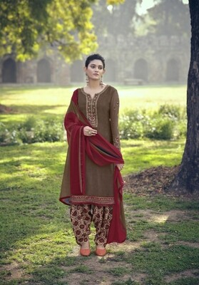 Punjabi Suit With Embroidered Royal Crepe In Brown