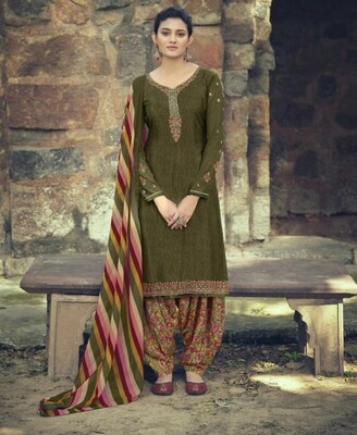 Punjabi Suit With Embroidered Royal Crepe In Mehendi Green