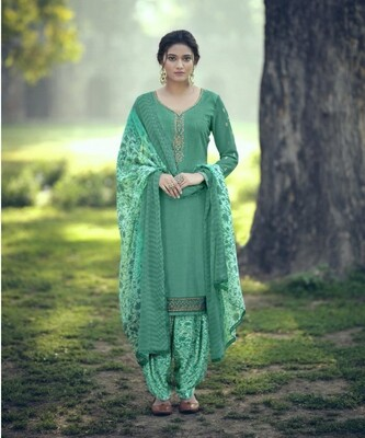Punjabi Suit With Embroidered Royal Crepe In Turquoise Blue