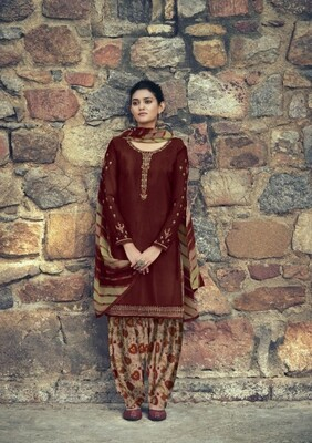 Punjabi Suit With Embroidered Royal Crepe In Brick Red