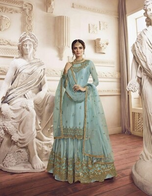 Wedding Wear Sharara Suit With Embroidered In Blue