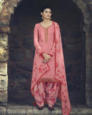 Punjabi Suit With Embroidered Royal Crepe In Pink