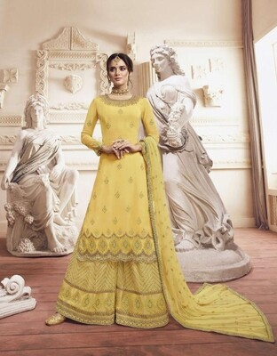 Wedding Wear Sharara Suit With Embroidered In Yellow