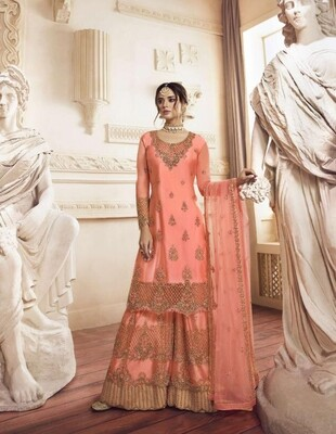 Wedding Wear Sharara Suit With Embroidered In Peach