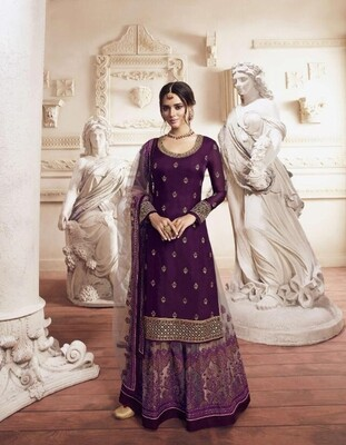 Wedding Wear Sharara Suit With Embroidered In Purple