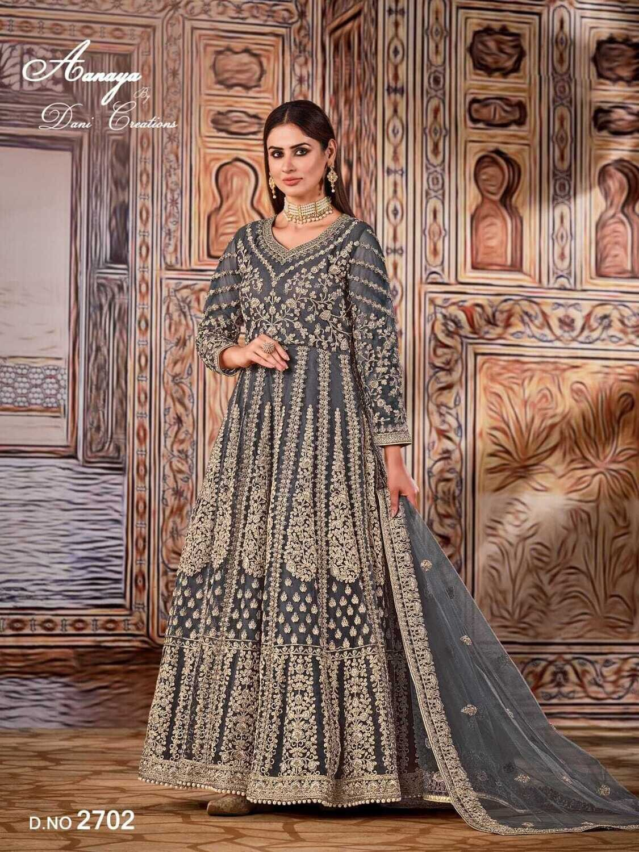 Wedding Wear Anarkali Suit Heavy Embroidered Net In Blue