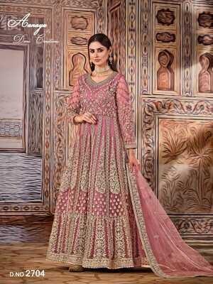 Wedding Wear Anarkali Suit Heavy Embroidered Net In Pink