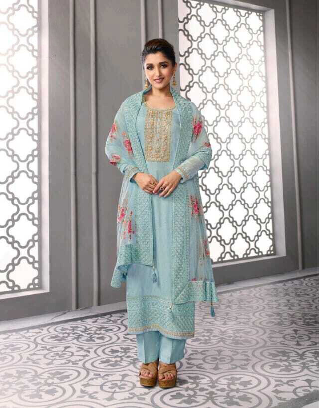 Festive wear Plazzo Suit Dola Silk Embroidered In Blue