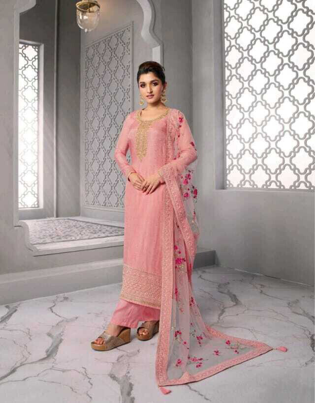 Festive wear Plazzo Suit Dola Silk Embroidered In Pink