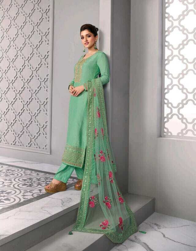 Festive wear Plazzo Suit Dola Silk Embroidered In Green