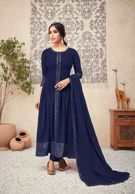 Viscose Rayon Embroidered Anarkali Suit In Royal Blue