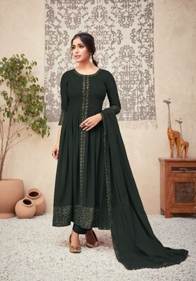 Viscose Rayon Embroidered Anarkali Suit In Dark Olive Green