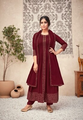 Viscose Rayon Embroidered Anarkali Suit In Maroon