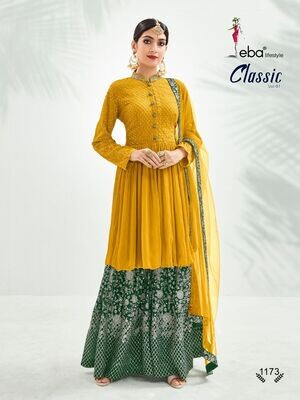 Festive Wear Sharara Suit With Chinon Diamond Embroidered In Mustard Yellow