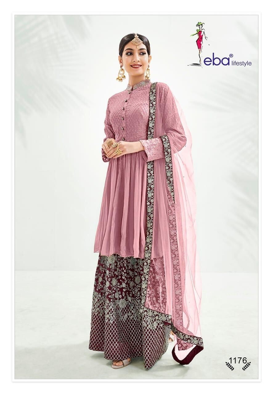 Festive Wear Sharara Suit With Chinon Diamond Embroidered In Light Pink