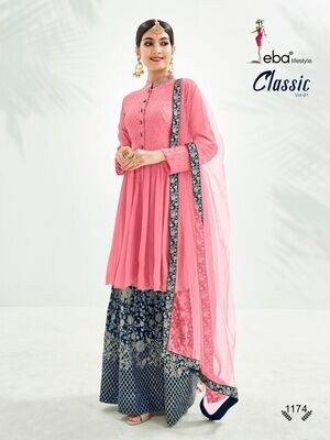 Festive Wear Sharara Suit With Chinon Diamond Embroidered In Hot Pink