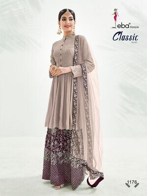 Festive Wear Sharara Suit With Chinon Diamond Embroidered In Soft Berry Color