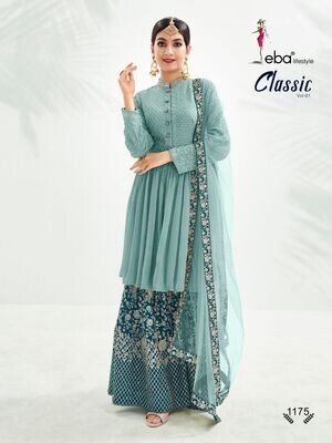Festive Wear Sharara Suit With Chinon Diamond Embroidered In Blue
