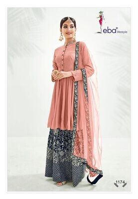 Festive Wear Sharara Suit With Chinon Diamond Embroidered In Peach