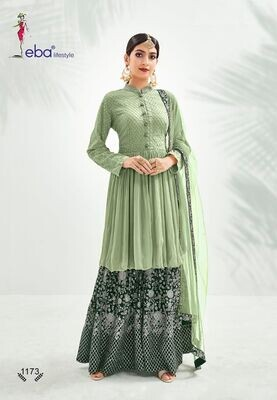 Festive Wear Sharara Suit With Chinon Diamond Embroidered In Green