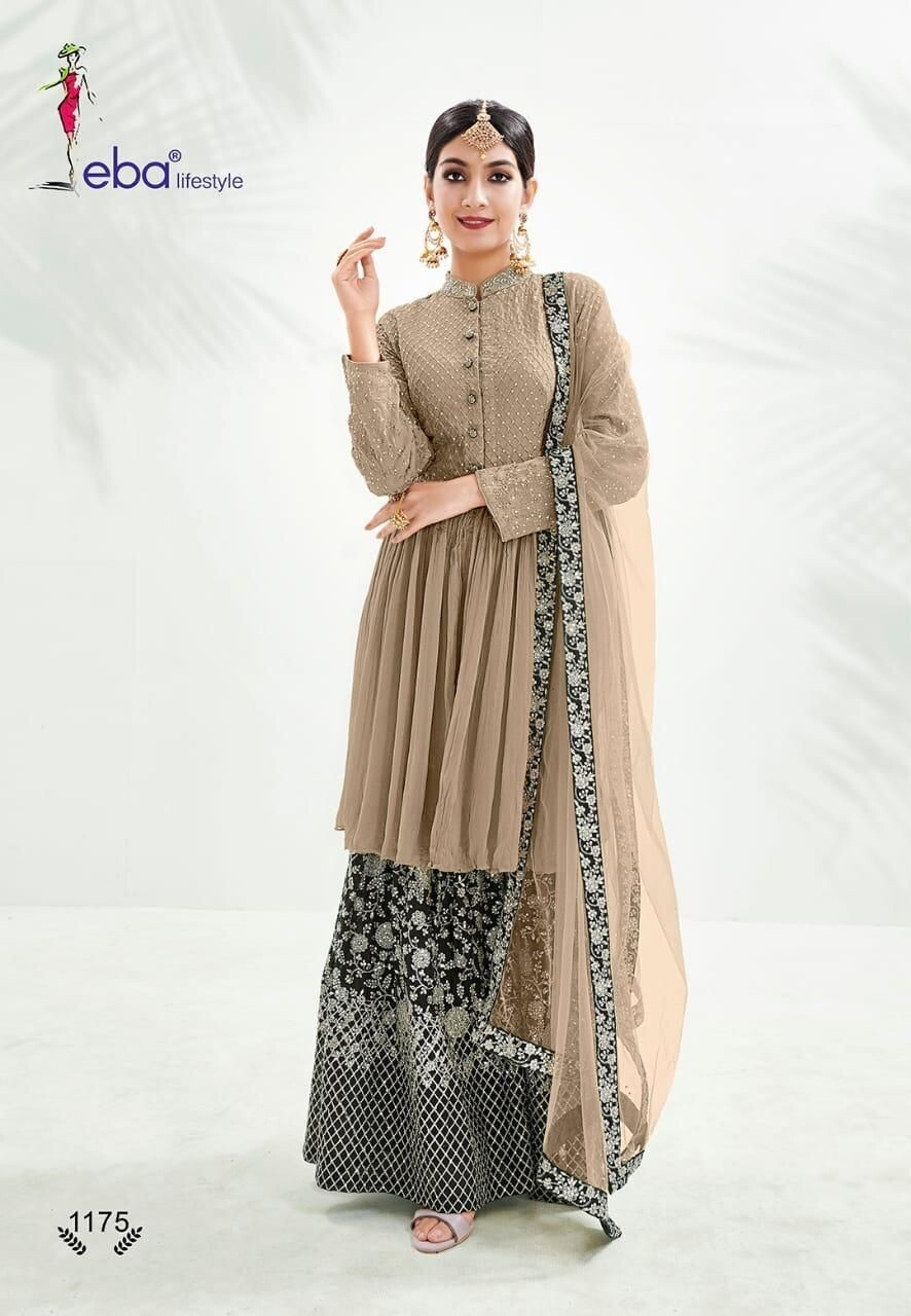 Festive Wear Sharara Suit With Chinon Diamond Embroidered In Light Brown