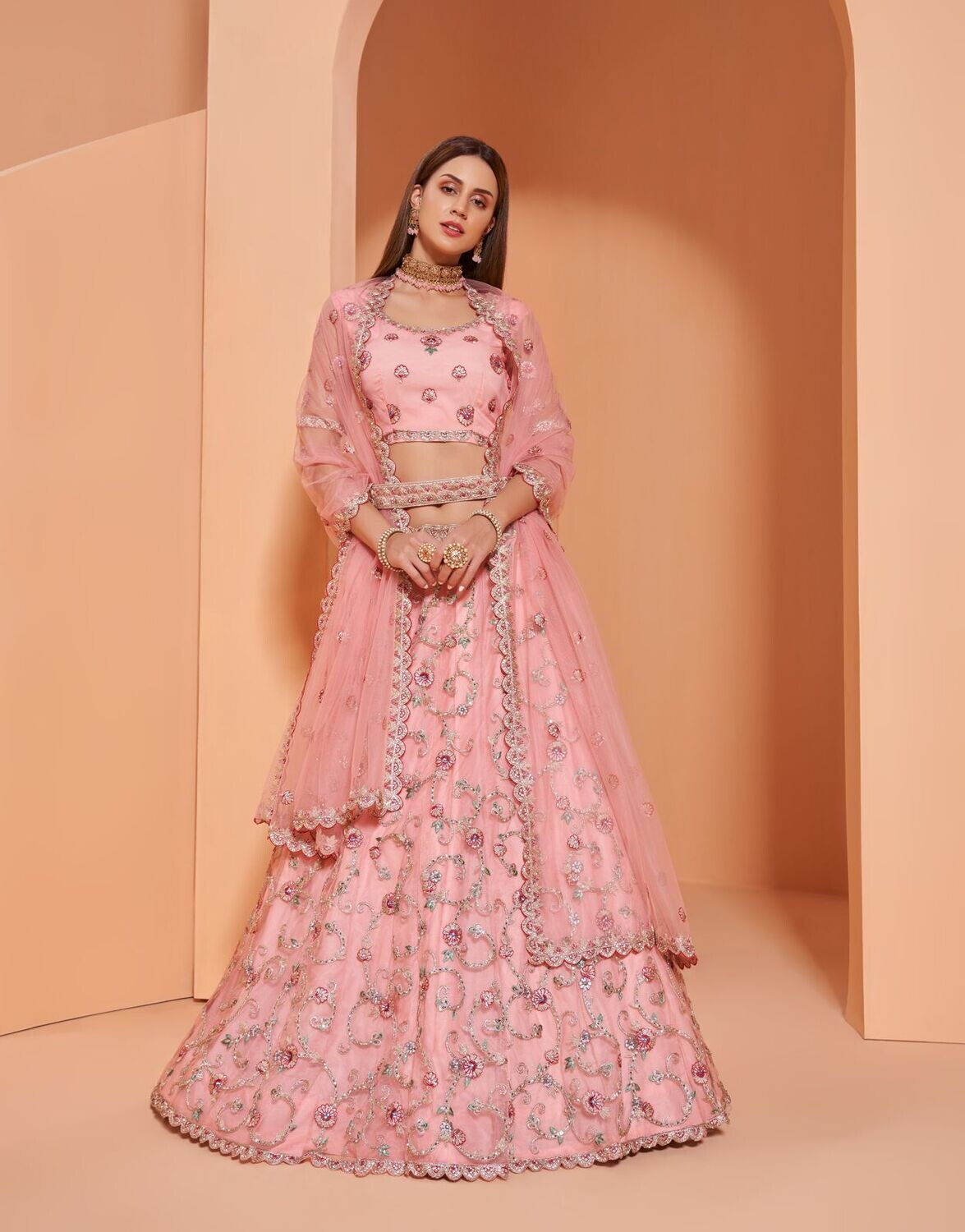 Engagement Wear Lehenga Choli With Cording Sequence Embroidery In Pink