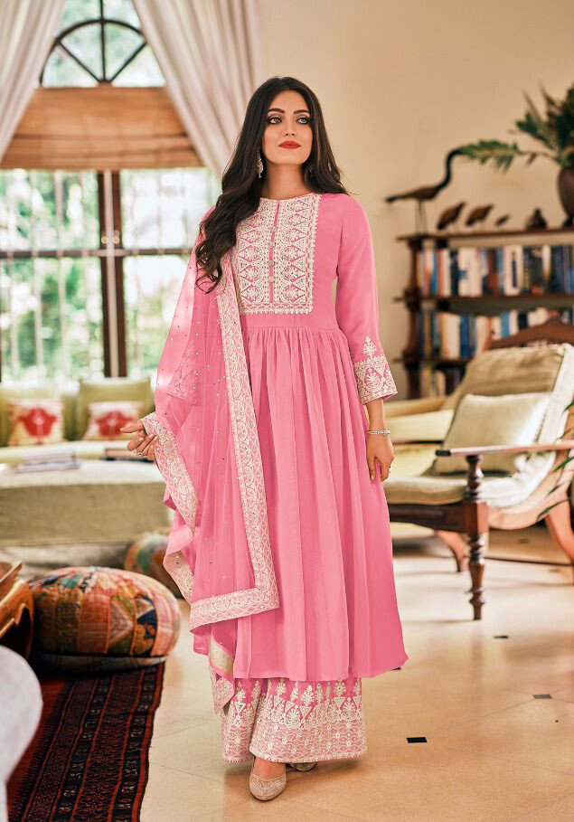 Plazzo Suit For Wedding With Embroidery In Hot Pink