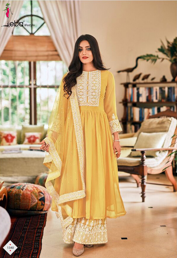 Plazzo Suit For Wedding With Embroidery In Yellow