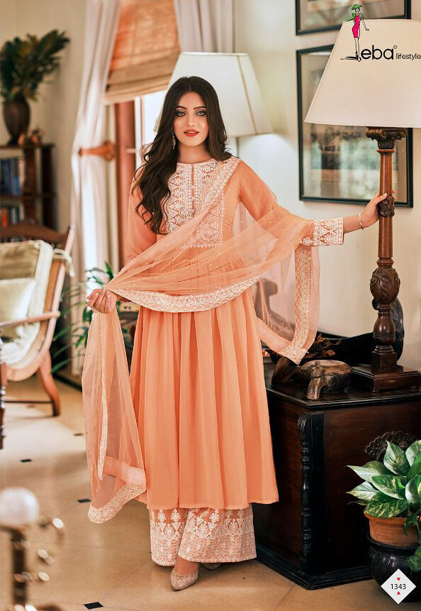 Plazzo Suit For Wedding With Embroidery In Peach