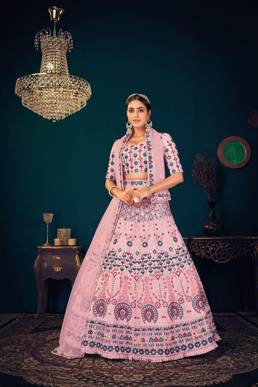 Heavy Wedding Wear Multi Thread Sequence With Gota Patti Embroidered Lehenga Choli In Pink