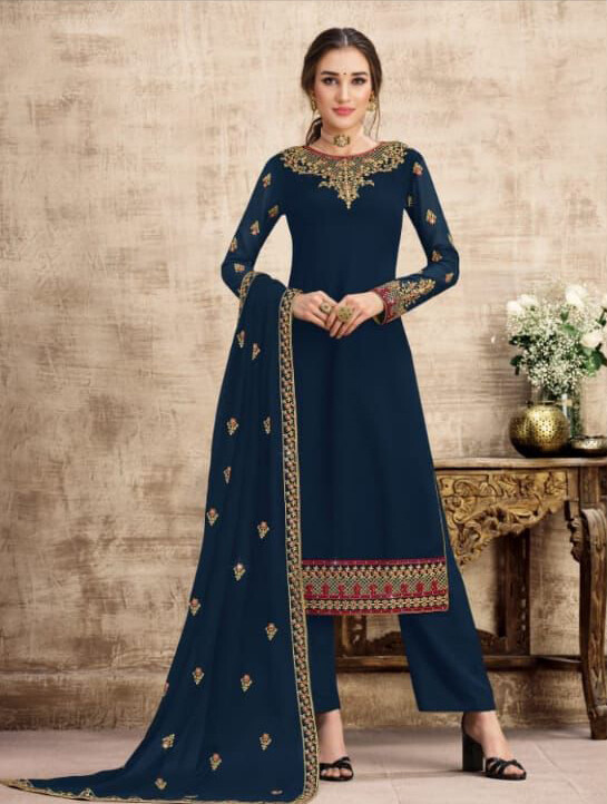 Wedding Wear Swiss Georgette Plazzo Suit With Embroidery In Navy Blue