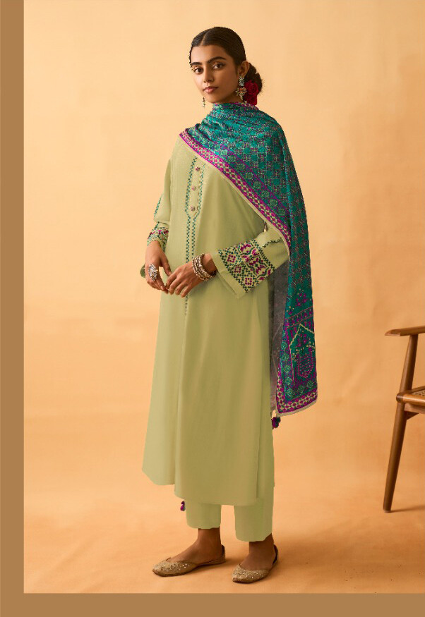 Staple Twill Pashmina Plazzo Suit With Embroidered In Lime Green