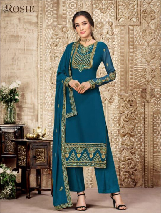Wedding Wear Swiss Georgette Plazzo Suit With Embroidery In Teal Blue