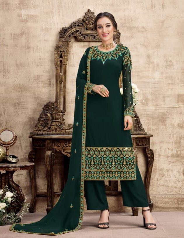 Wedding Wear Swiss Georgette Plazzo Suit With Embroidery In Bottle Green