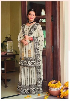 Karwachauth Special Dress With Heavy Embroidered Chinon In Black White