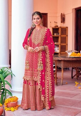 Karwachauth Special Dress With Heavy Embroidered Chinon In Rani