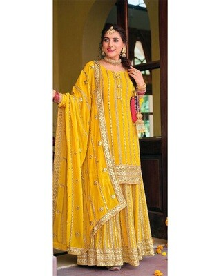 Karwachauth Special Dress With Heavy Embroidered Chinon In Yellow