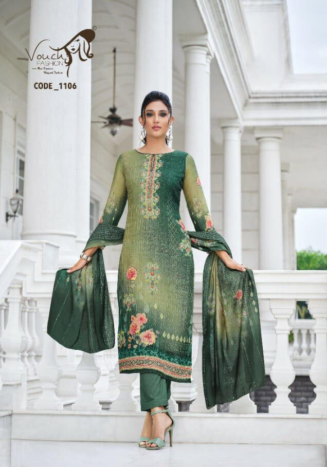 Printed Pant Suit In Pure Viscose Muslin In Green