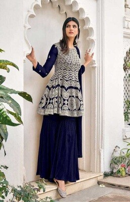Heavy Blooming Georgette Embroidered Sharara Suit In Dark Blue