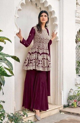 Heavy Blooming Georgette Embroidered Sharara Suit In Wine